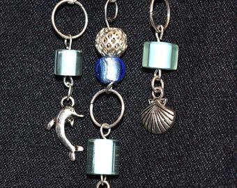 pin,kilt pin, brooch,silver, dolphin, shell, fish,seafoam, green,blue, OOAK,unique, summer pin,seashore,beach jewelry,gift,present