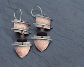 Mask -  Bohemian ethnic copper earrings with oxidized sterling silver, wood and coco