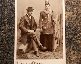 Antique Photograph Cabinet Card of Fancy Couple