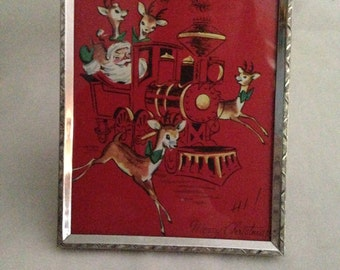 Vintage Framed Christmas card, Framed 1950's Christmas Card, Upcycled Christmas, Santa Claus and his Reindeer in a Train
