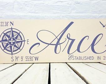 Personalized Family Name Sign, Last Name Sign, nautical decor, compass, nautical wedding gift, Latitude Longitude Sign, Coordinates