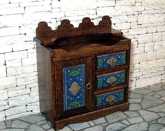 Dry Sink, Blue Decorated Dry Sink, Dollhouse Miniature, 1/12 Scale, Hand Made
