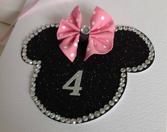 New/Girls Birthday Card/Age/Minnie Mouse/Disney/Party Invitation