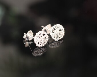 Wire Wrapped Circle Earring Studs, Sterling Silver, Wire Earring Studs, For Her, Earring Jewelry, Gift Idea