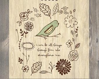 ALL THINGS little birdie art illustration print - scripture art, christian art