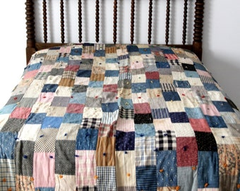 vintage quilt, American square patch hand tied quilt