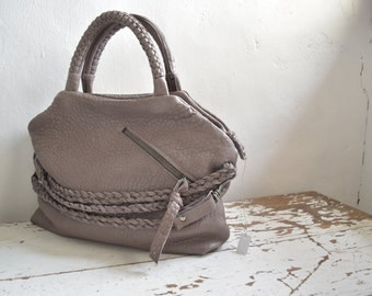 SALE Grey Slouchy Top Handled Leather Purse with Straps and Front Pocket.  Ready to Ship