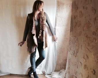 SALE Shearling Reversible Vest in Tawny Gold shades - OOAK Ready to Ship Reversible