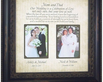 Wedding Frame, Mother of the Bride, Parents Thank You Gift , Parents of the Bride, Personalized Wedding Picture Frame Gift, 16 X 16