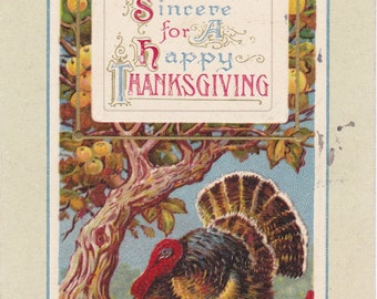 Greetings Sincere- 1910s Antique Postcard- Edwardian Thanksgiving- Tom Turkey- John Winsch- Harvest Decor- Paper Ephemera- Used