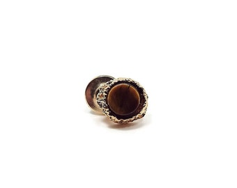 Faux Tigereye Vintage Tie Tack Gold Tone Round Brown Imitation Tiger Eye Mid Century Mens Jewelry Hipster
