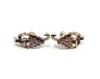 Coro Vintage Rhinestone Screw Back Earrings Gold Tone Mid Century Formal Jewelry
