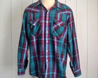 Plaid Button Up Shirt - Vintage Cotton Flannel Shirt - 1970s Pearl Button Shirt Jacket - Extra Large XL