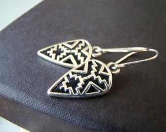 Tribal ,  silver tone dangling geometric arrowhead earrings with sterling silver ear wires