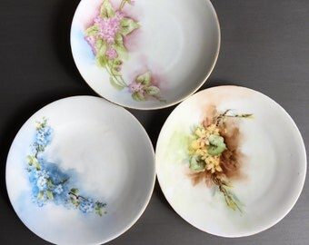 Antique Porcelain Plates O&EG Royal Austria Hand Painted / Mismatched Floral Plates by Oscar and Edgar Gutherz - #11032