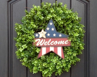 Summer Wreath-July Fourth-Memorial Day-Patriotic-Door-Stars-Stripes-Flag-Indoor/Outdoor Decoration-REMOVABLE Sign-Boxwood-Two In One Wreath