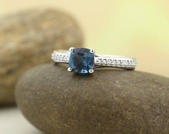 Natural AAA 6mm cushion cut London blue Topaz  Solid 14K white Gold Diamond Engagement Ring Set-ST82823-1048