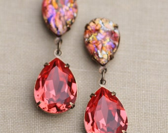 NEW Vintage Ruby Coral Opal Earrings,Coral Salmon Orange Glass Fire Opal,RARE,Swarovski Earrings,Faux Opal Earrings,Opal Jewelry,Hourglass
