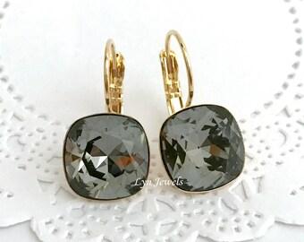 Dark Grey Earrings, Swarovski Crystal SILVER NIGHT Cushion Earrings, 12mm Swarovski Elements Nickel Free Hypoallergenic Jewelry
