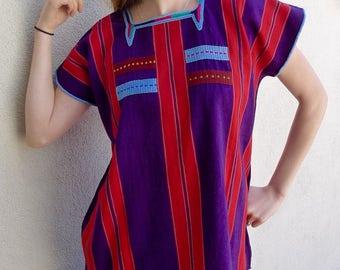 "Chiapas handwoven cotton huipil blouse purple RED stripe Oxchuc Mayan boho Frida Kahlo coverup resort 23""W x 27""L"