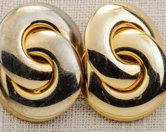 90s Vintage Gold Earrings Clip On Interlocking Circles Abstract 1980s - 1990s Clipons   Vtg 7B
