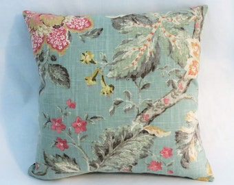 """Aqua Pink Yellow Floral Pillow, 17"""" Square Linen, Cottage Chic, Vintage Look Flowers, Zipper Cover Only or Insert Included, Ready to Ship"""