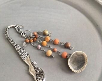 Seashell Mermaid Shepherd Hook Bookmark Beaded Wood Ocean Beach Reading