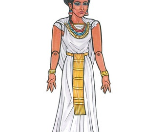 Cleopatra Ancient Egypt Queen Articulated Paper Doll, Egyptian Art