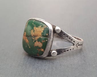 Fred Harvey Era Royston Turquoise Ring Stamp Work Size 6