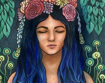 Blue Haired Nature Goddess - 9 x 12 Original Watercolor Painting OOAK by Amanda Lanford