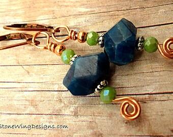 Boho Earrings, Gemstone Earrings, Artisan Earrings, Apatite Earrings, Blue and Green Earrings, Rustic Gemstone Earrings, Gift for Mom