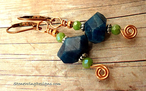 Blue Apatite Boho Gemstone Earrings