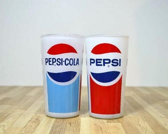 Retro Pepsi Designed Drinking Glasses Water Tumblers: Set of Two