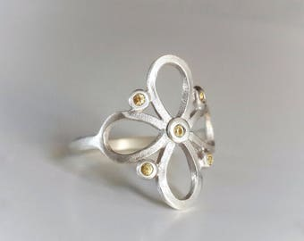 Flower Ring in Sterling Silver with Yellow Sapphires . Floréo Tattoo Ring. Silver Sapphire Ring. Handcrafted Fine Jewelry. Mother's Day Gift