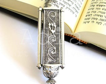 "Exclusive Mezuzah, Silver Filigree, Sterling Silver Mezuzah, Judaica, 4.5"" X 1.2"", Jewish Wedding Gift, Mezuzah With Scroll - ID543 [p]"