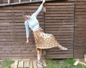 Pleated skirt, golden color skirt, triangle skirt, silk blend skirt, ornament skirt, recycled skirt, oriental skirt