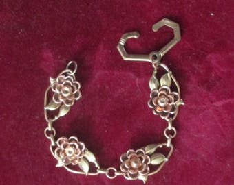 Vintage Rose Gold Flower Bracelet By Kreisler / Multi Flowers Gold Link Bracelets