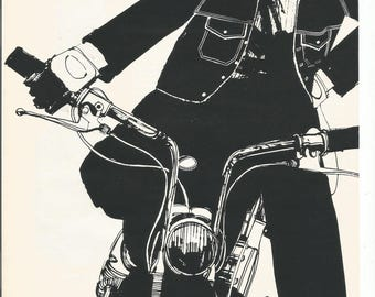1966 Advertisement Carhartt Angels Man Woman On Motorcycle Black and White Illustration Sketch Pop Clothing Biker Cycle Wall Art Decor