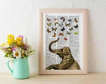 Summer Sale Elephant in love counting butterflies book print - Elephant in love collage Printed on book page ANI088b