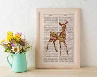 Summer Sale Wall art Deer silhouette, cherry blossom flowers pattern art print. Deer wall art print. Nursery art. Deer art ANI246