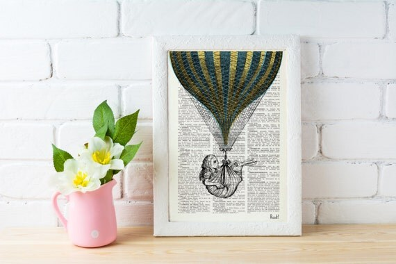 Alice in Wonderland Dictionary Book Print - Alice's (and White Rabbit's) Balloon Ride Collage Print on Vintage Dictionary Book art BPAW042