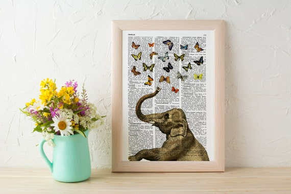 Spring Sale Elephant in love counting butterflies book print - Elephant in love collage Printed on book page BPAN088b
