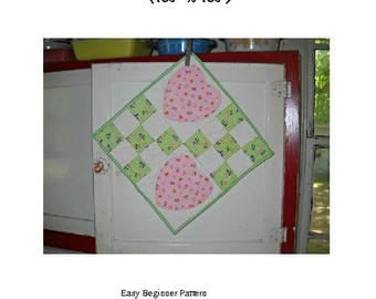 Lots of Love Quilted Trivet Pattern, Pink Hearts, Green Nine Patch, Kitchen Decor