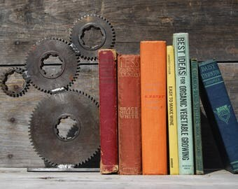 Industrial Gears Bookend, Metal Bookend, Industrial Decor