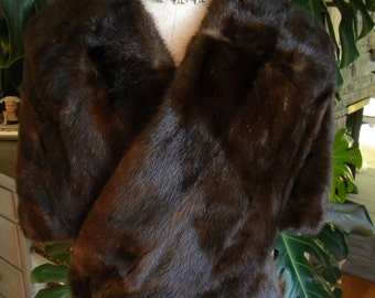 Beautiful dark mink fur cape / stole / wrap / wedding