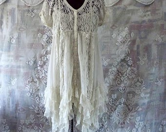 Boho  Lace and chiffon Ruffle Dress