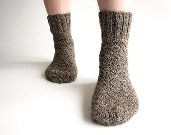 EU Size 39-40-41 - Hand Knitted Men's Socks - Made of Hand Spun Undyed Wool Yarn - 100% Natural Organic Warm Clothing