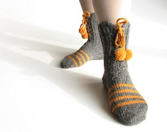 EU Size 36-37 - Nand Knitted Striped Socks With Pompons - 100 % Natural Wool