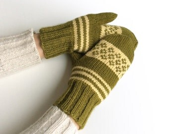Hand Knitted Fair Isle Mittens - 100% Natural Wool