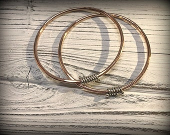 Boho - Lovely Hammered Copper and Sterling Silver Bangles